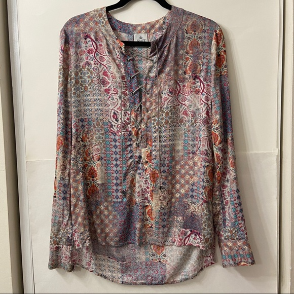 SW3 Bespoke Boho Lace Up Floral Paisley Top S